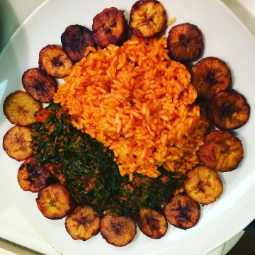 Jollof Rice with Efo Riro & Plantain