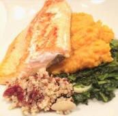 Artic Char with Quinoa, Spinach, & Mashed Sweet Potatoed