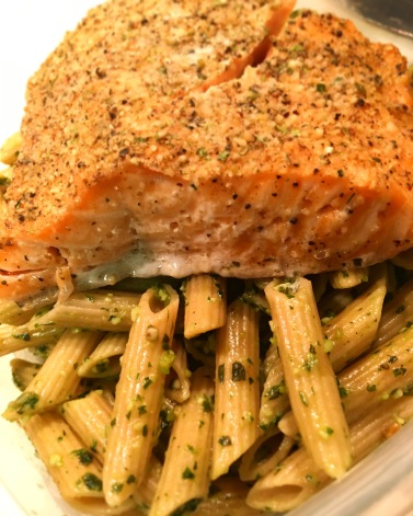 Grilled Salmon & Whole Wheat Penne Pasta in Pesto Sauce