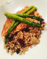Steelhead Trout over Farro w/Toasted Almonds and Cranberries & Roasted Asparagus